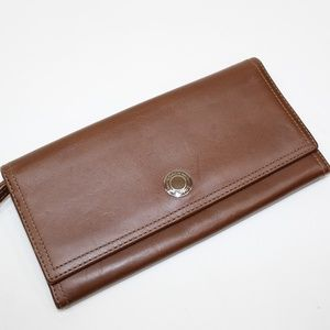 Coach Brown Leather Button Snap Wallet